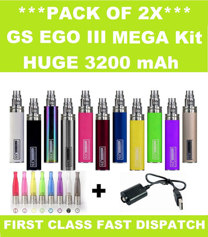 2x GS EGO III 3200mAh - Dual Pack Huge Battery **Mega Kit**