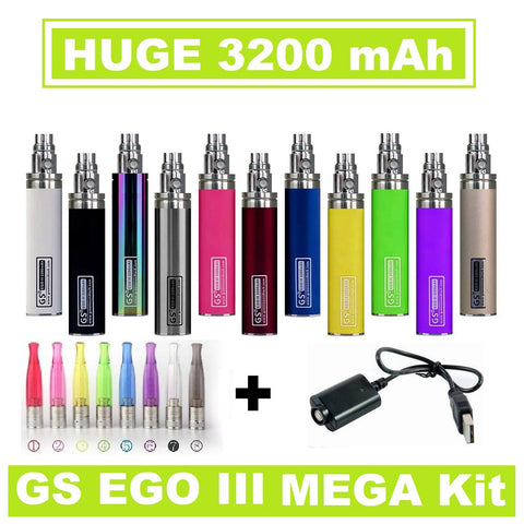 GS EGO III 3200mAh -Long USB Charger and H2S Atomizer **Mega Kit**