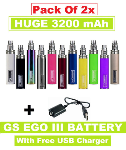 2x GS EGO III 3200mAh - **Dual Pack** Huge Battery With Long USB Charger