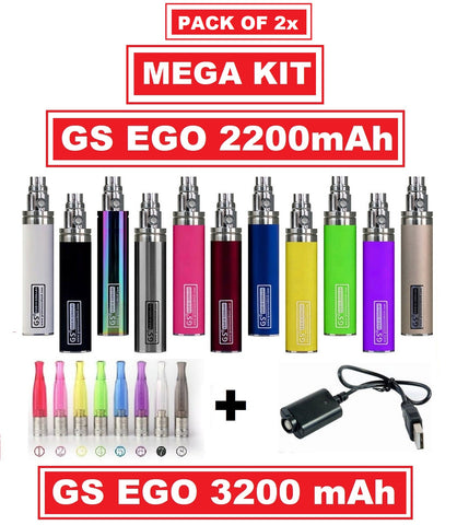 2x GS EGO 2200mAh OR 3200mAh Battery With Atomiser & USB Charger - **Dual Pack Mega Kit**