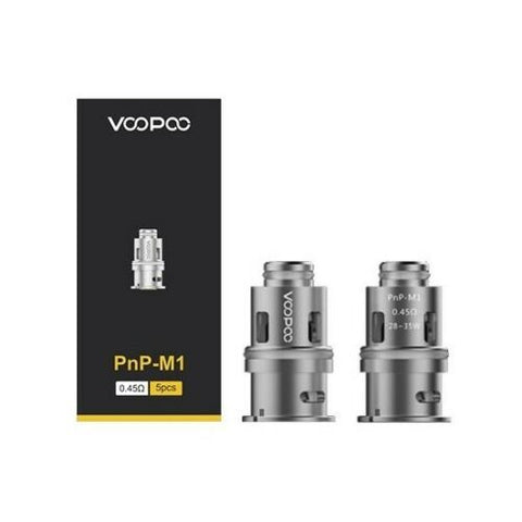 Genuine VooPoo PnP M1 Single Mesh Coil 0.45ohm Pack of 5x Replacement Coils Head