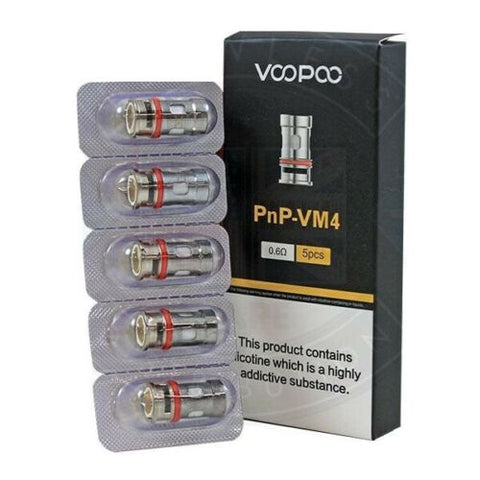 VooPoo VINCI PnP Single Mesh VM4 0.6ohm Coils 20–28W Pack of 5x Replacement Coil