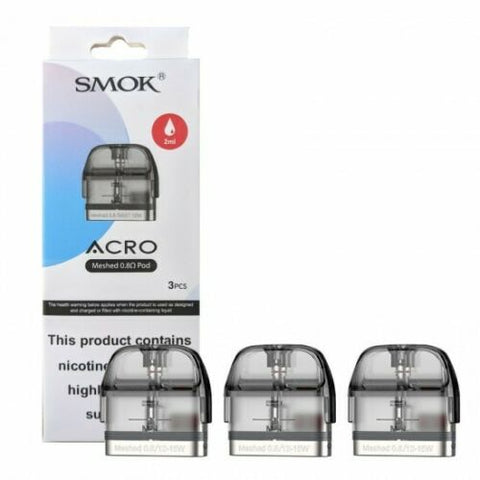 Smok Acro Pods Meshed 0.8ohm Pack of 3x Replacement Pods 2ml Capacity