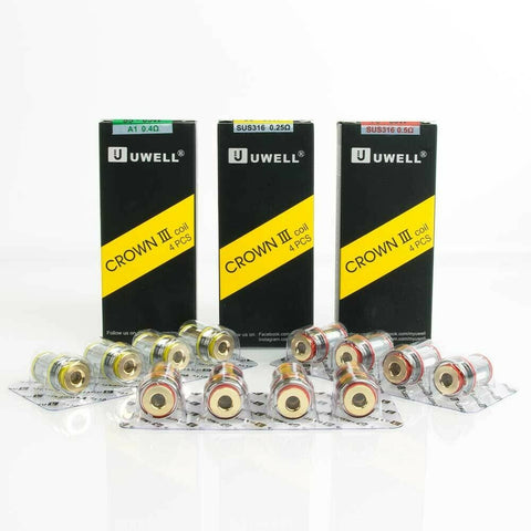 Uwell Crown III Coils 0.25Ω OR 0.4Ω OR 0.5Ω Pack of 4x Vape Replacement Coils