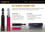 Genuine Aspire K3 Starter Vape Kit 1200mAh Battery 2ml Tank Capacity NEW