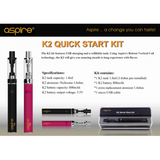 Aspire K2 18W Starter Kit 800mAh Battery Vape Pen Electronic Cigarette Kit