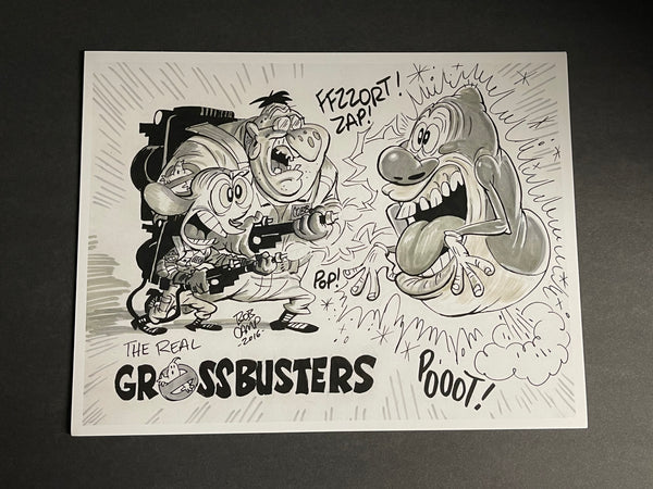 Bob Camp Art Mashup Ren & Stimpy 'The Real Grossbusters' 8.5 x 11 Monochrome Print- Signed