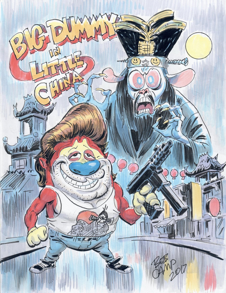 """Big Dummy In Little China"" Bob Camp Art Ren & Stimpy Show Art Mashup 11x14 Autographed Poster"