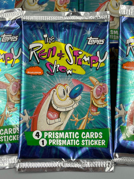 1993 Topps Ren & Stimpy All Prismatic Trading Card and Sticker Packs - Autographed by Bob Camp