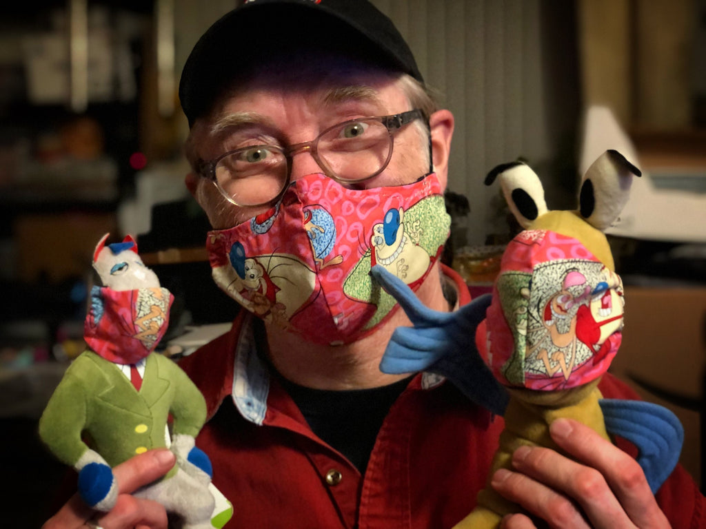 Ren and Stimpy Show Handmade Face Covering Mask Autographed by Bob Camp - Pink Character Toss Fabric