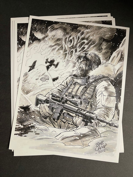 Bob Camp Art GI Joe Snow Job 8.5 x 11 Monochrome Print - Signed