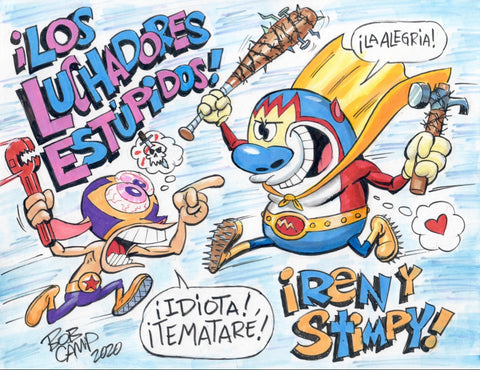 Bob Camp Art Mashup Ren & Stimpy 11x14 Poster - Signed
