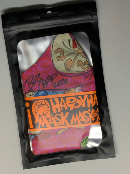 Handmade Bob Camp autographed Ren & Stimpy vintage fabric face mask black or pink