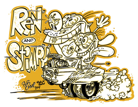 "Bob Camp Art ""Ren & Stimpy Hot Rod"" 11x14 Autographed Poster by Bob Camp"