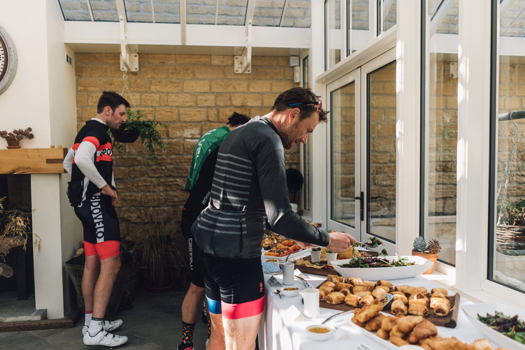 Corporate cycling event lunch at Bowcliffe Hall