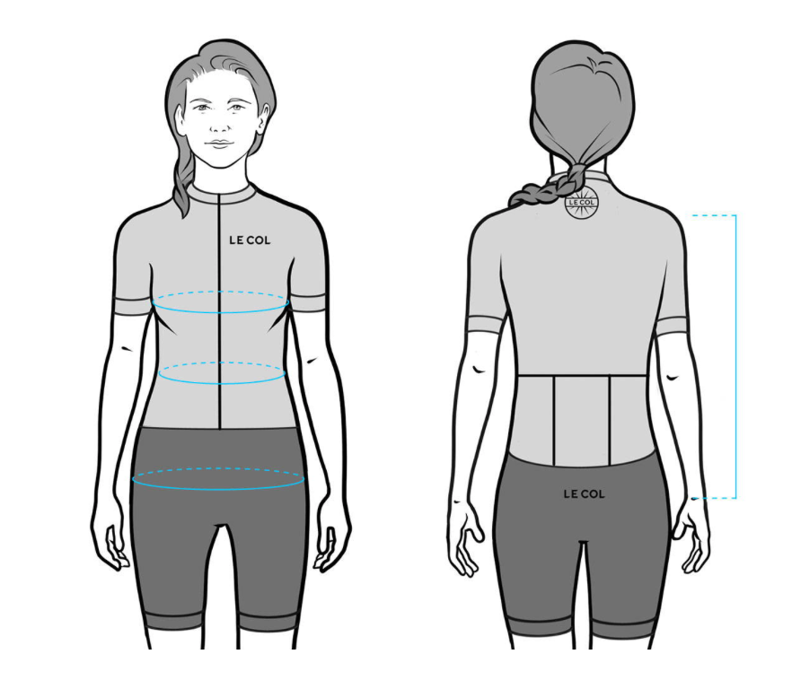 Women's Le Col Cycling Jersey Size Guide
