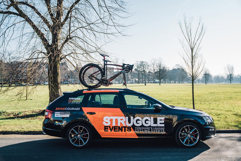 Yorkshire corporate cycling event support car with Seasucker Roof Racks