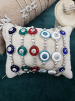 Multicolor Enamel Evil eye bracelet