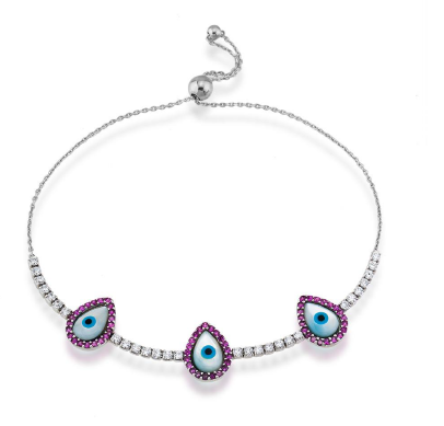 Triple tear drop Evil eye bracelet