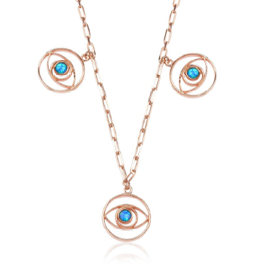 Sunburst triple charm Evil eye necklace