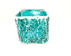 Crackle Glass Candle Holder - Roxelana Designer Jewelry & Fine Gifts