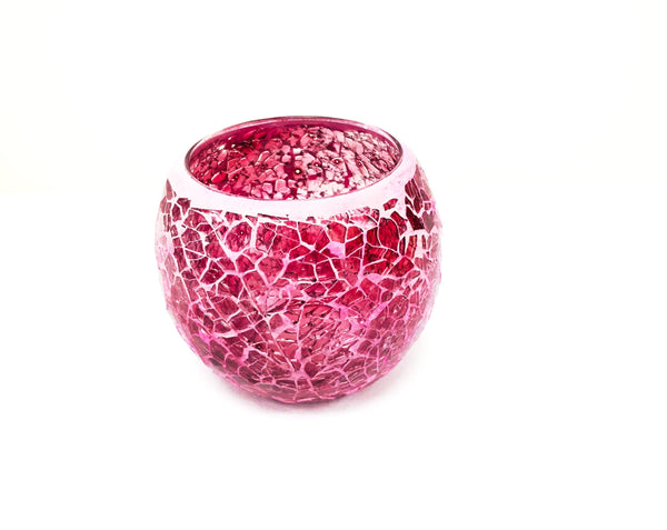 Crackle Glass Candle Holder