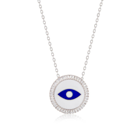 Evil eye white enamel Necklace