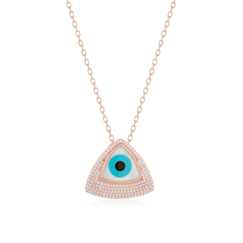 Mother of Pearl Evil Eye necklace - Roxelana Designer Jewelry & Fine Gifts