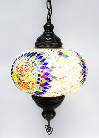 Turkish mosaic hanging lamp (9 inc wide 27 inc long) - Roxelana Designer Jewelry & Fine Gifts
