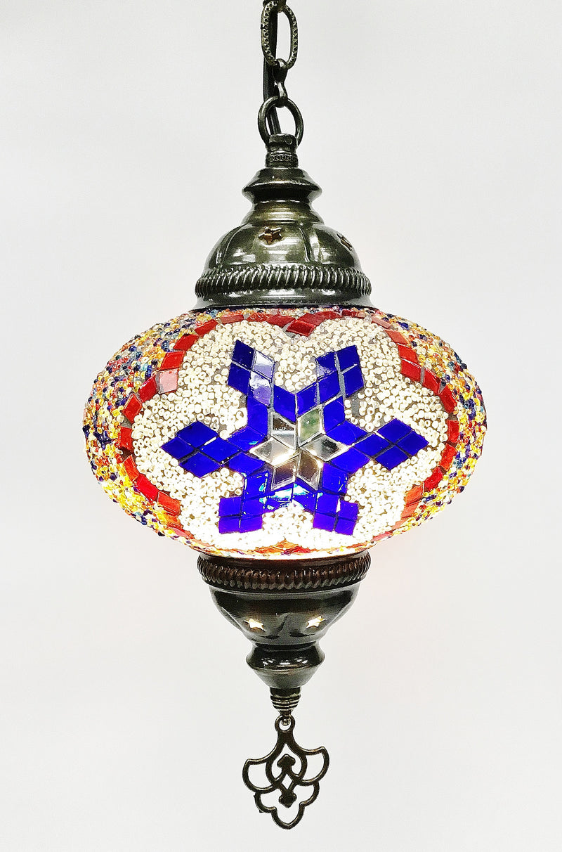 Turkish mosaic hanging lamp (7 inc wide 22 inc long) - Roxelana Designer Jewelry & Fine Gifts