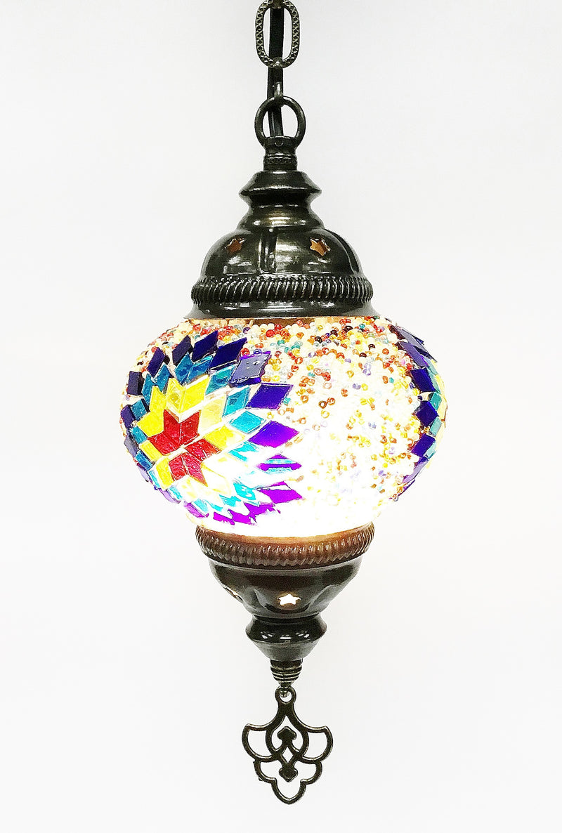 Turkish mosaic hanging lamp (6 inc wide 21 inc long - Roxelana Designer Jewelry & Fine Gifts