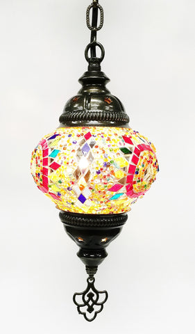 Turkish mosaic hanging lamp (6 inc wide 21 inc long)