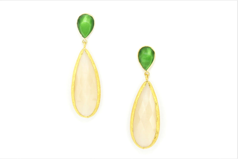Brass Single Drop Cat Eye Earring - Roxelana Designer Jewelry & Fine Gifts