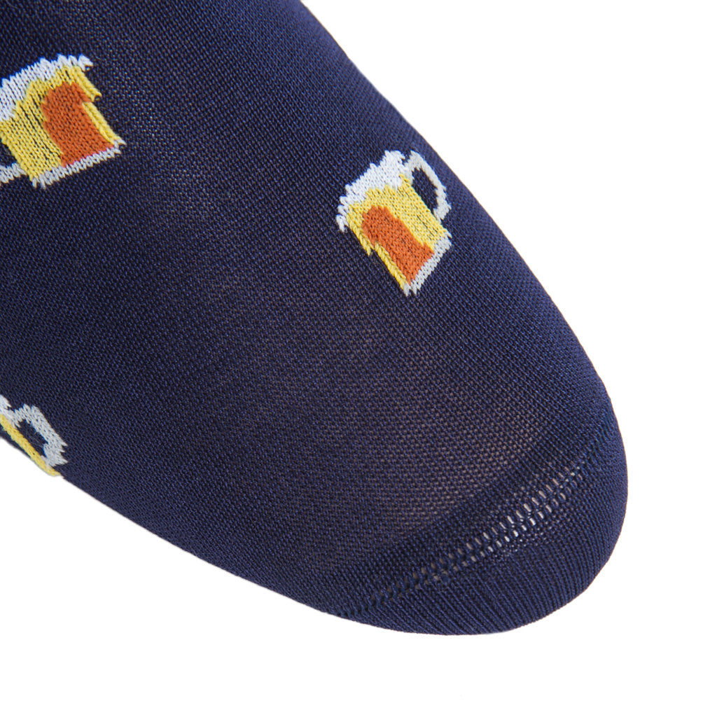 Classic-Navy-Beer-Cotton-Sock-Made-In-USA
