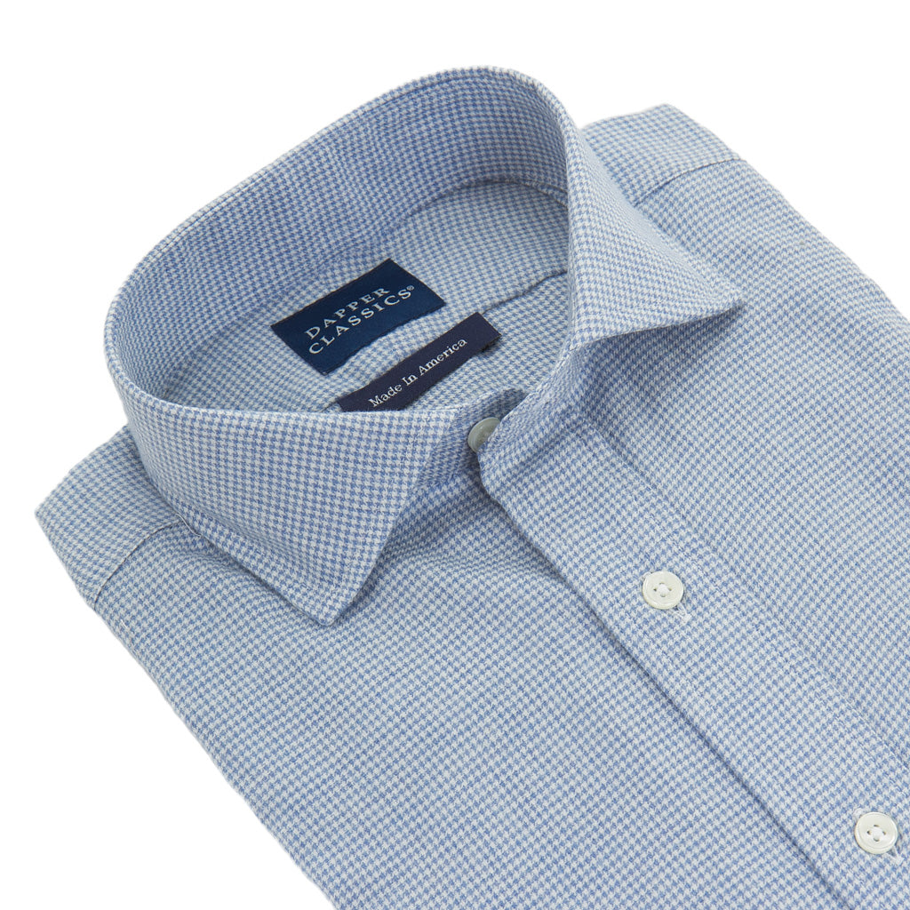 American-Made-Cotton-Blue-White-Houndstooth-Sport-Shirt