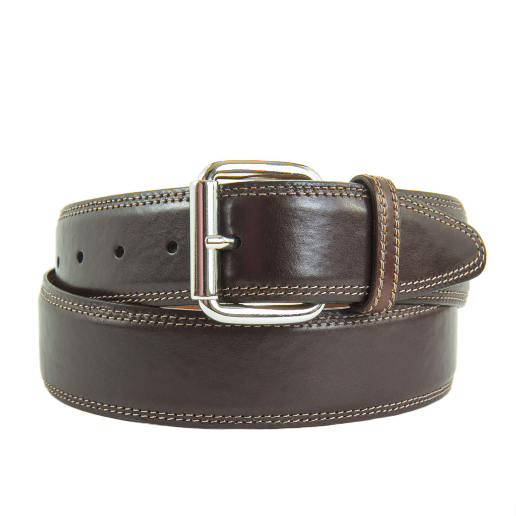 Brown-Leather-Belt-Nickel-Roller