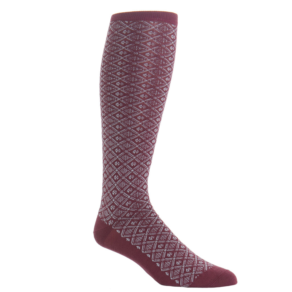 Over-The-Calf-Patterned-Grid-Sock