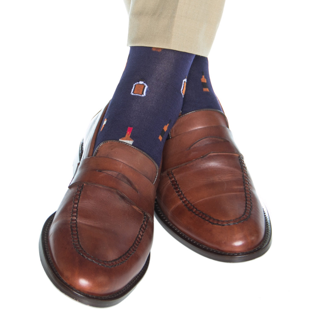 Navy-Bourbon-Cotton-Sock