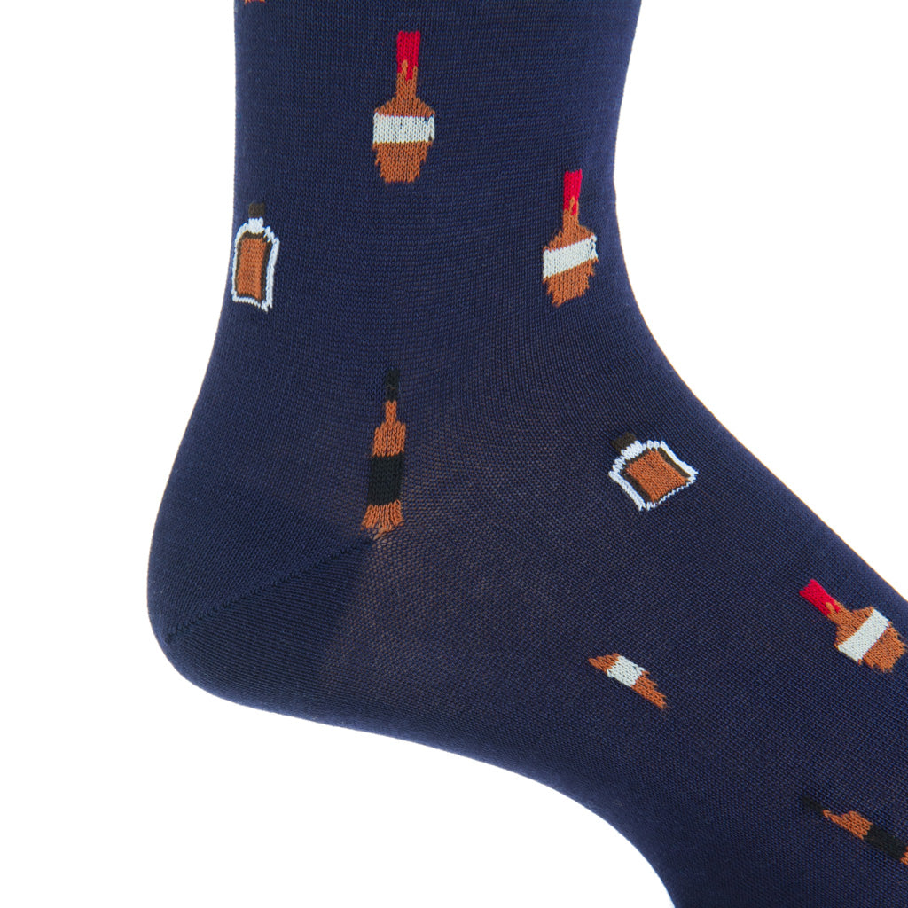 Mid-Calf-Navy-Bourbon-Bottle-Cotton-Sock
