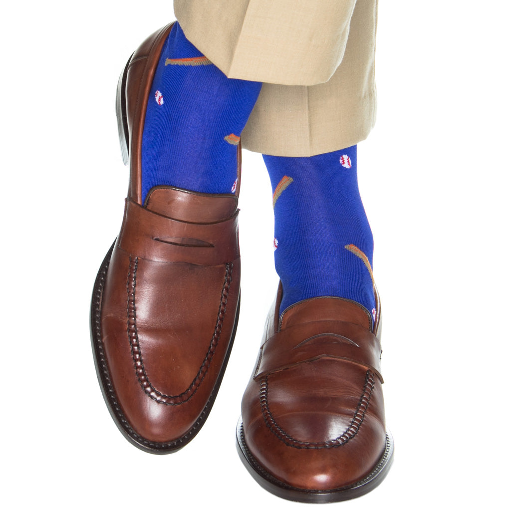 Mid-Calf-Blue-Baseball-Dress-Sock