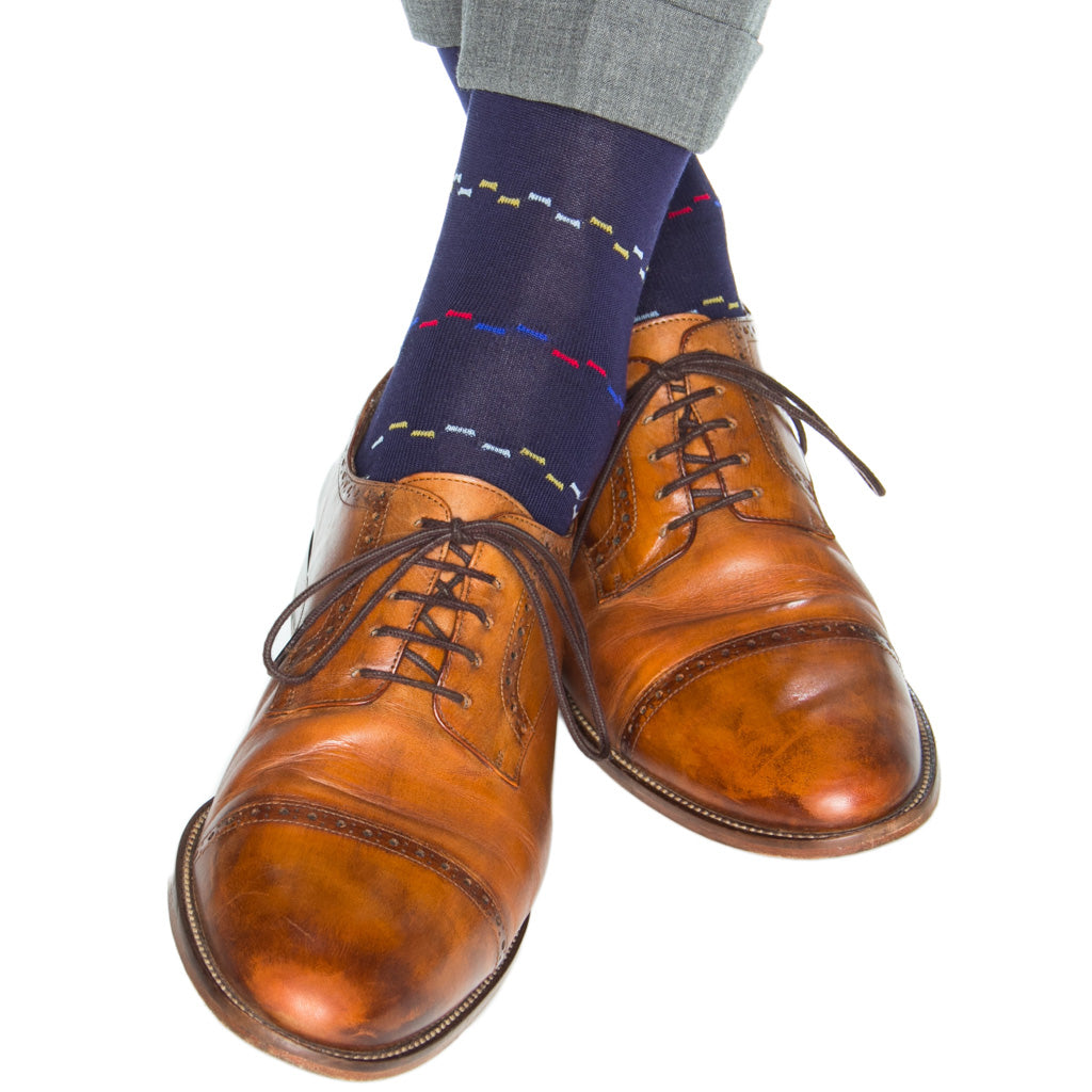 Navy-Blue-Yolk-Red-Clematis-Dash-Sock