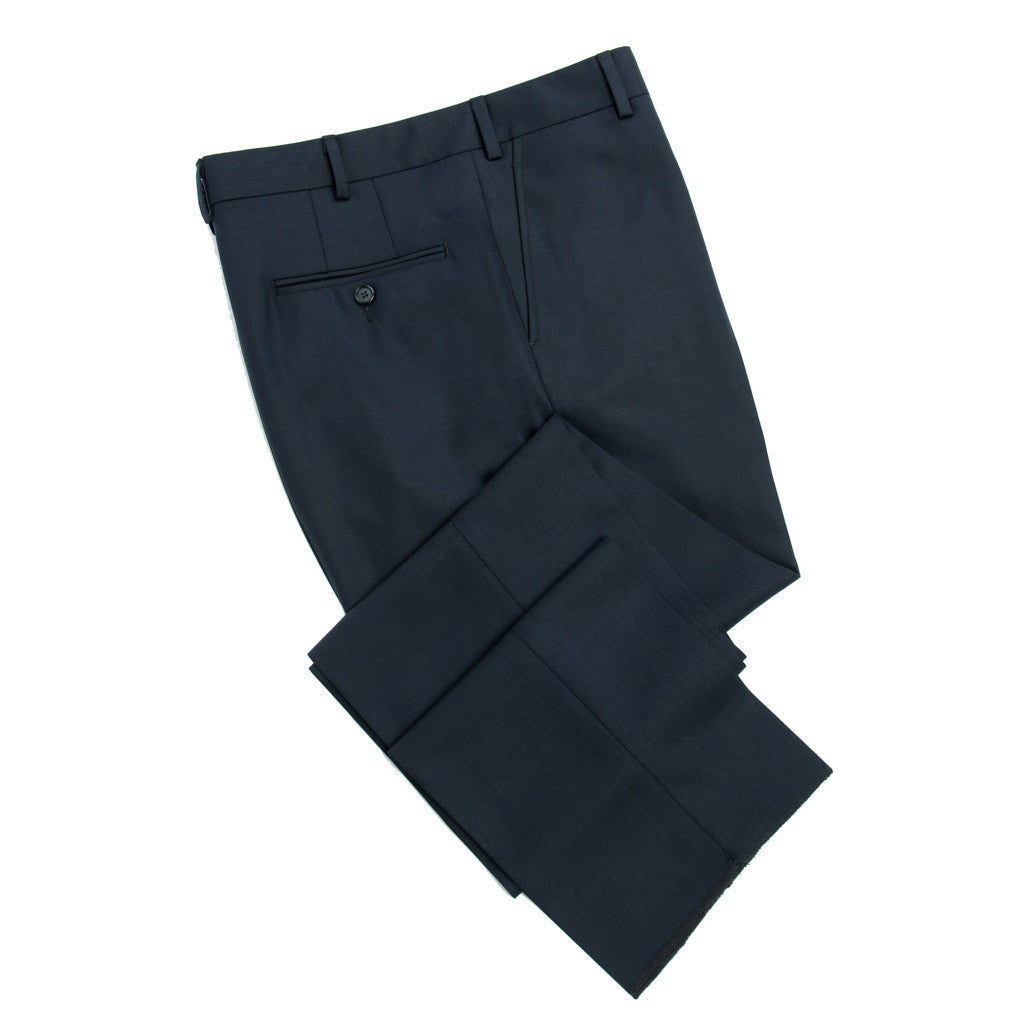 100% Fresco Merino Wool - Slim Fit - Mid Night Navy - trousers - dapper-classics - 1