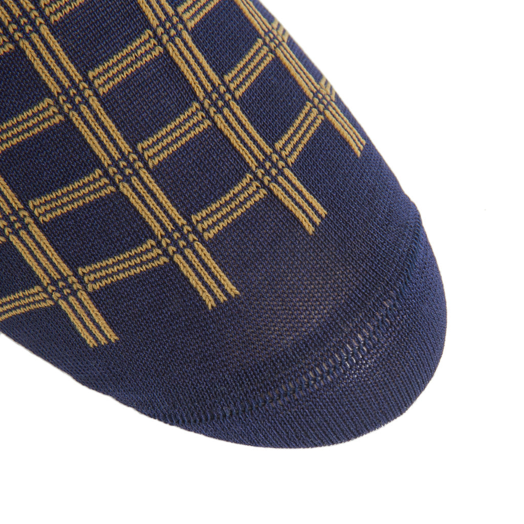 Classic-Navy-Gold-Patterned-Sock-Cotton