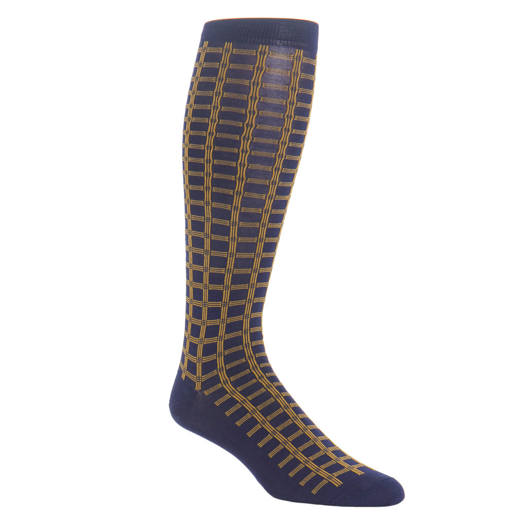 Over-The-Calf-Navy-Gold-Grid-Sock