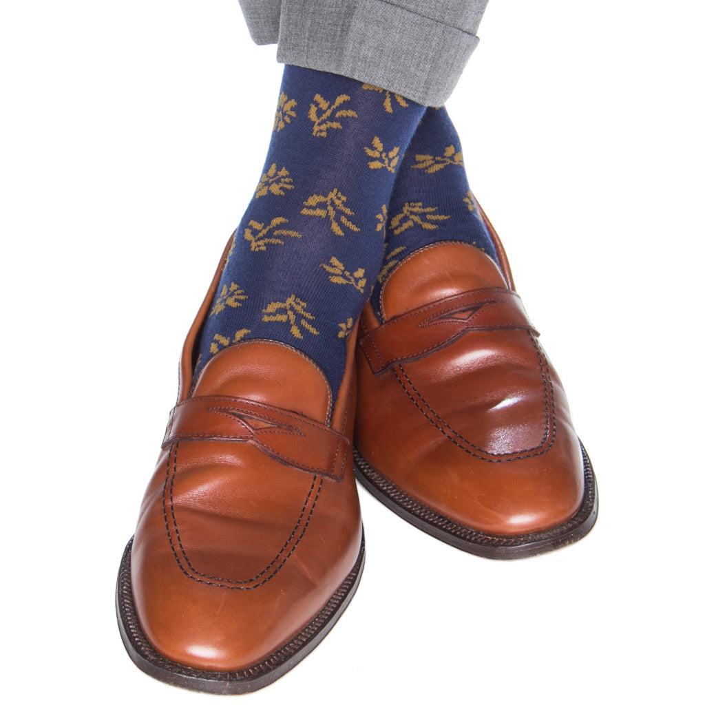 Falling-Leaves-Navy-Gold-Wool-Sock