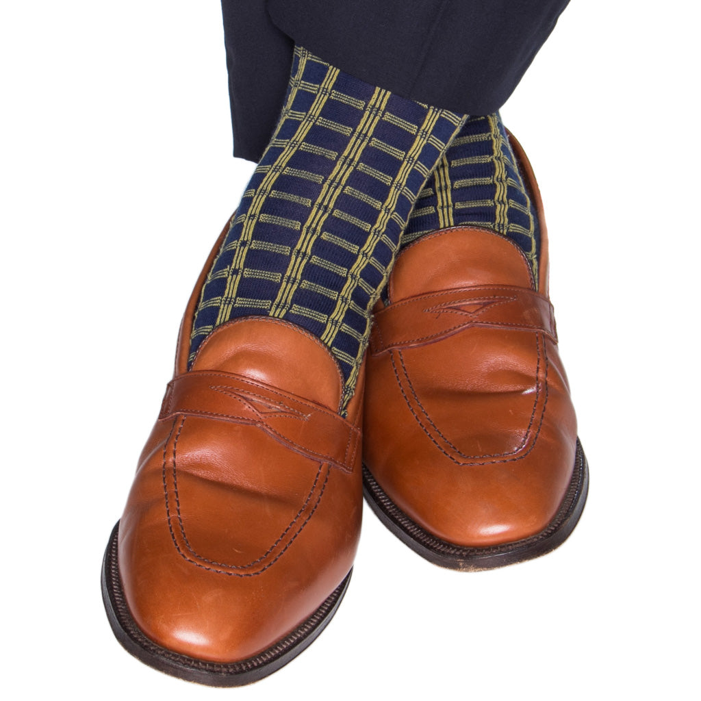 Navy-Yellow-Wool-Sock