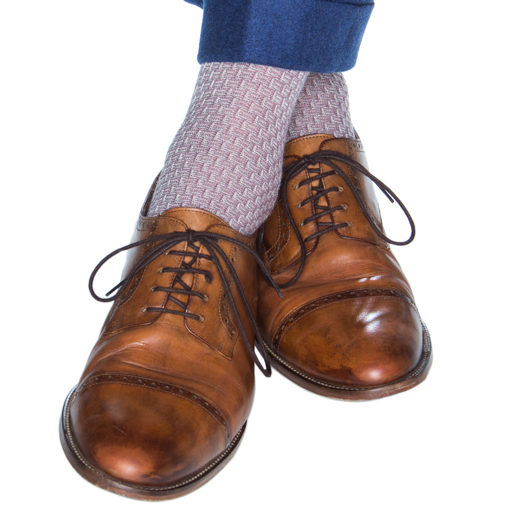 Lavendar-Cream-Basket-Weave-Wool-Sock-American-Made