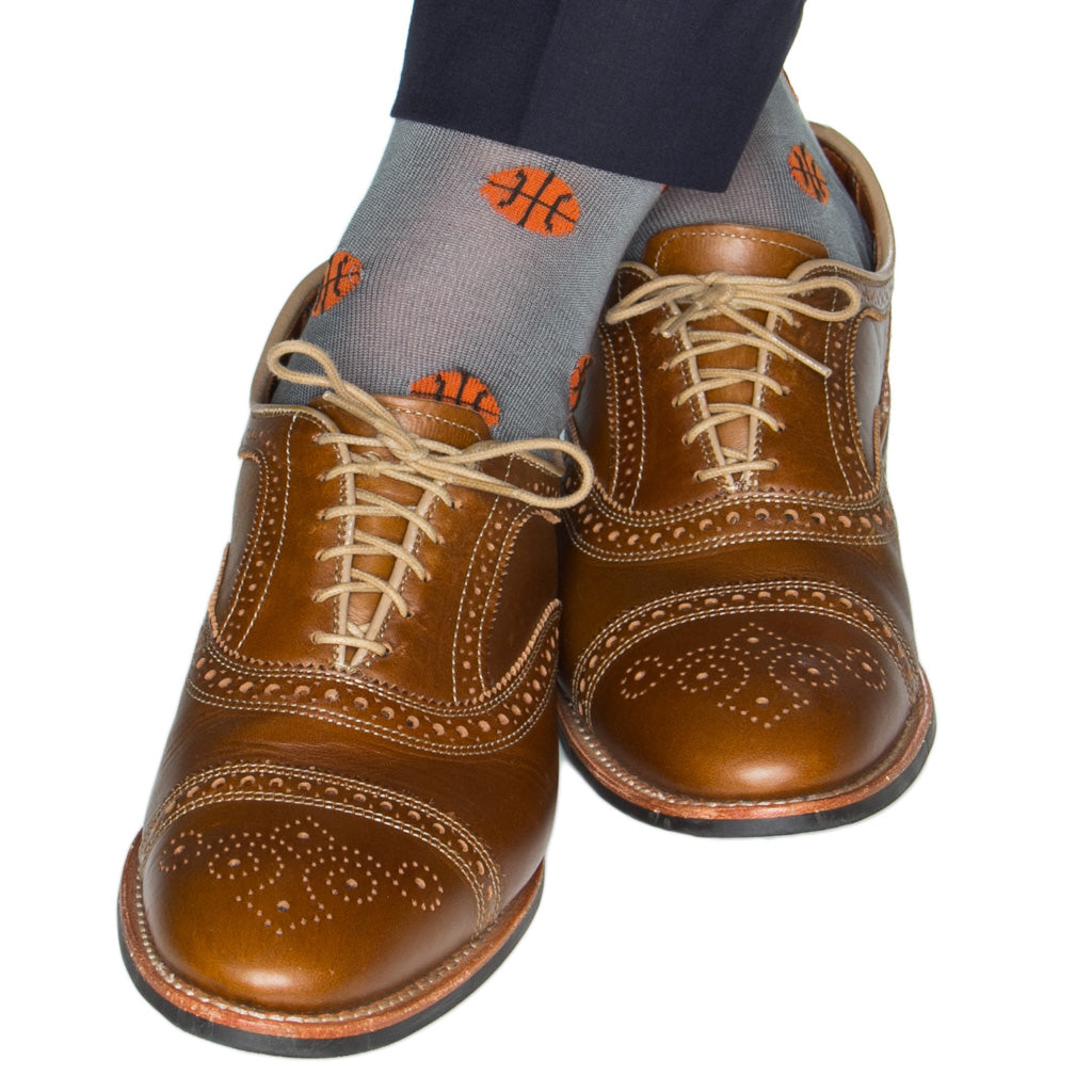 Grey-Orange-Basketball-Cotton-Sock