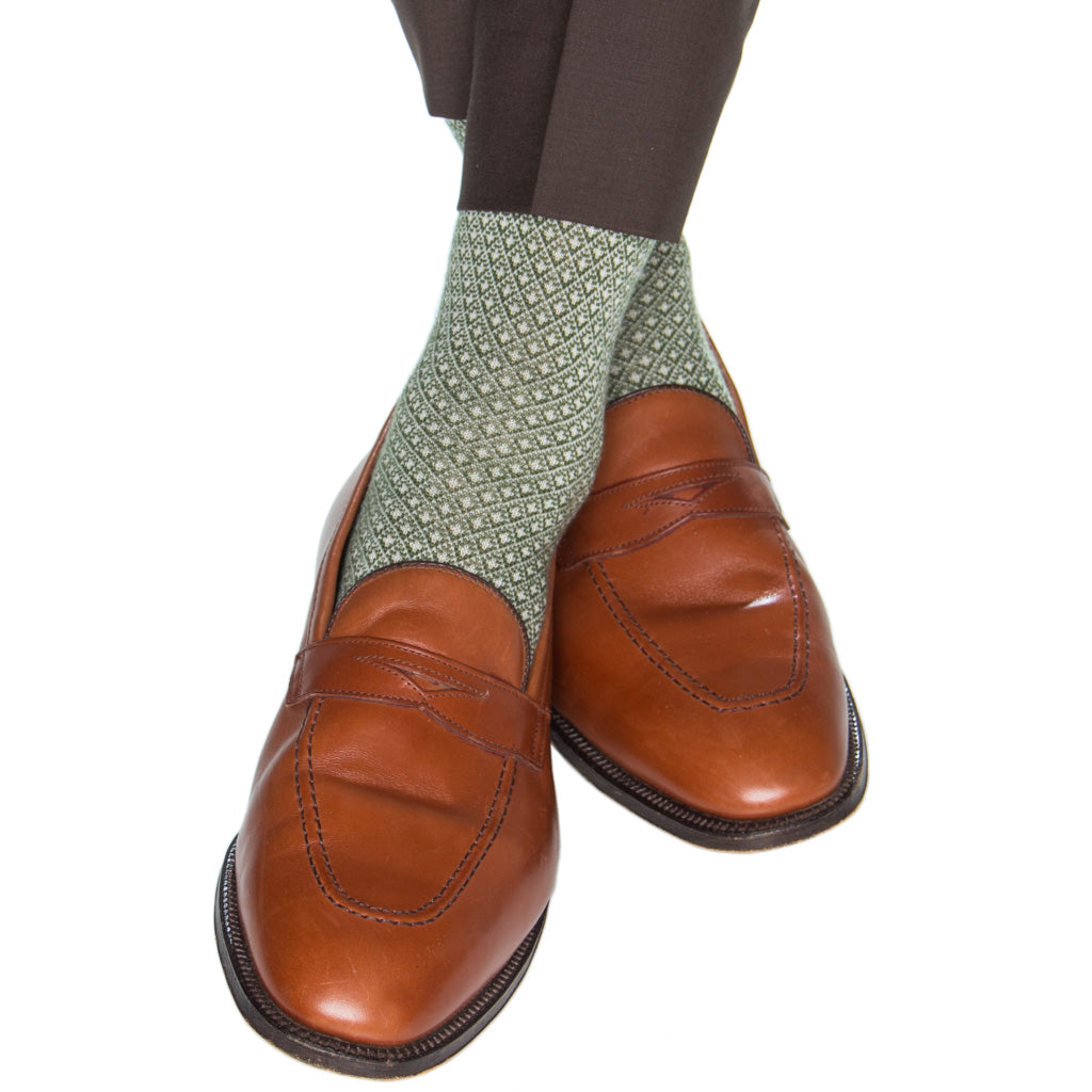 Patterned-Wool-Green-Cream-Sock