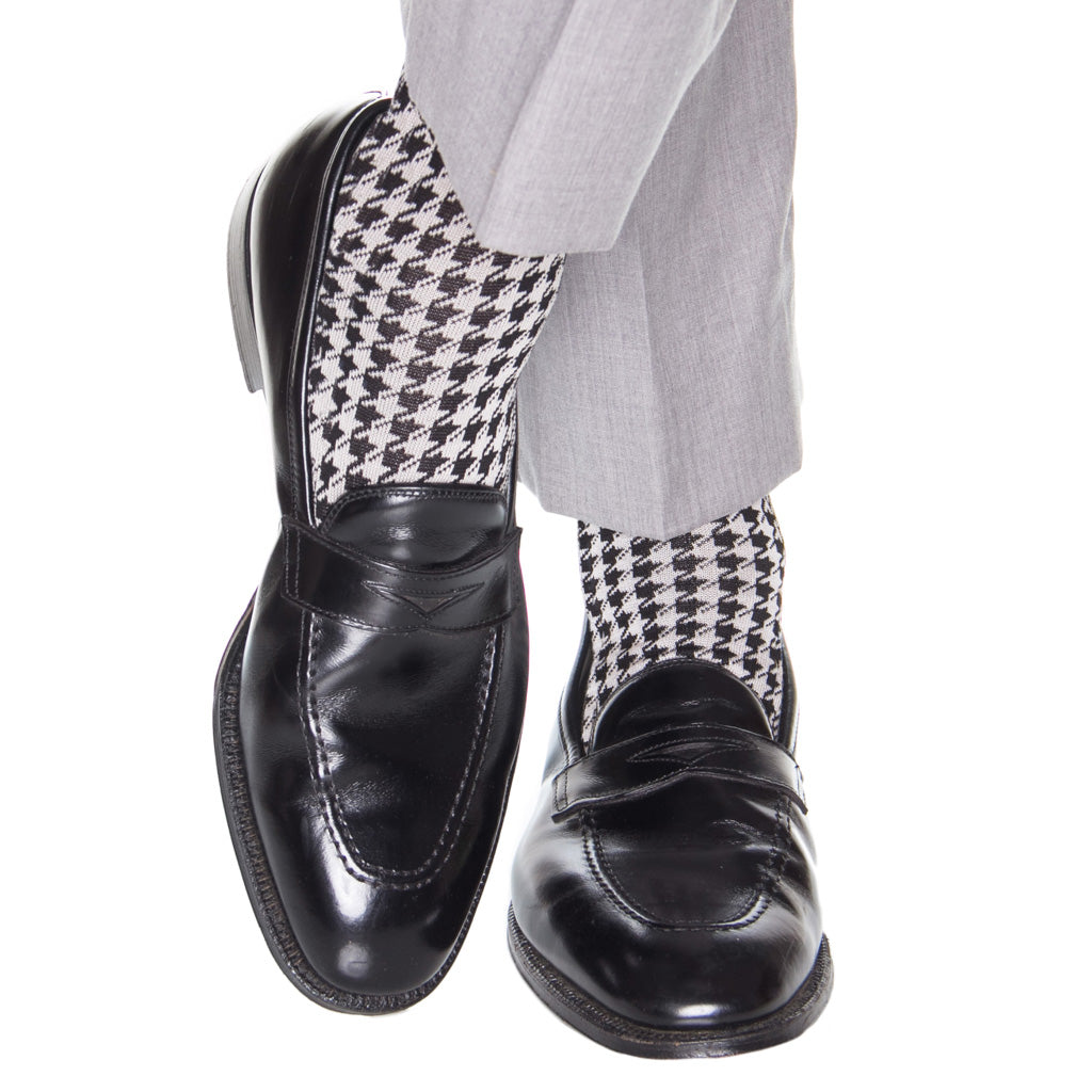 Black-White-Houndstooth-Cotton-Sock
